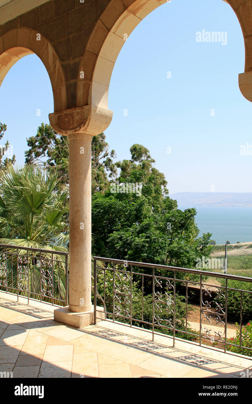 Beautiful view from the Mount of Beatitudes, Israel - said to be the actual location of the Sermon on the Mount Stock Photo