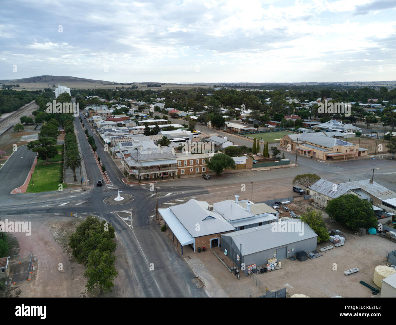 Aerials of Gladstone Street the main retail area of Gladstone South Australia - Stock Image
