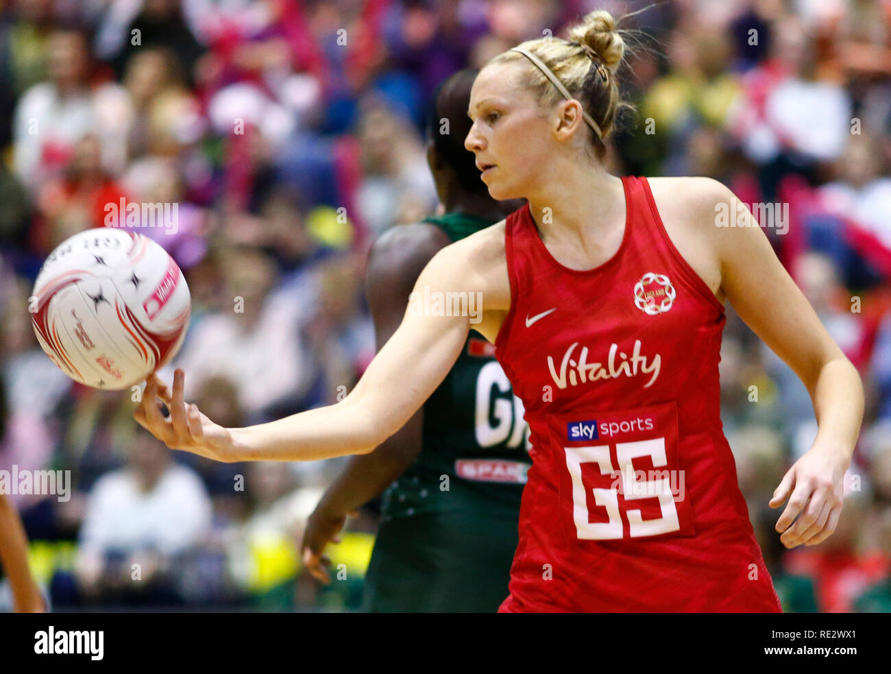 London, UK. 19th Jan 2019.  Jo (Joanne) Harten of England During Netball Quad Series Vitality Netball International match between England and South Afr at Copper Box Arena on January 19, 2019 in London, England.  Credit Action Foto Sport Credit: Action Foto Sport/Alamy Live News - Stock Image