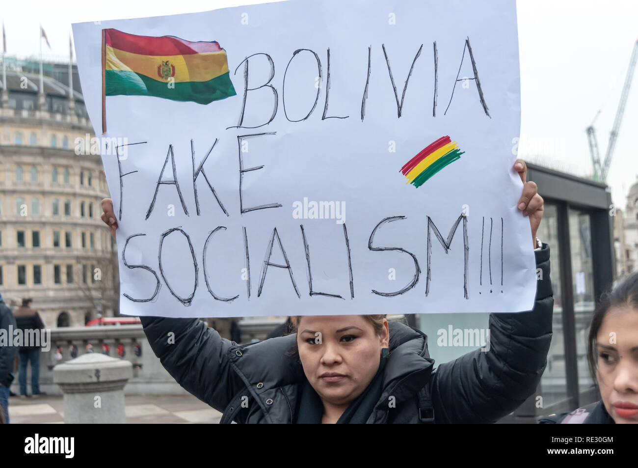 London, UK. 19th January 2019. Bolivians protested in Trafalgar Square against President Evo Morales after Bolivia's Electoral Tribunal ruled in December that he could stand for a fourth term in office in the November 2019 elections, for which there are primaries on January 27th. Morales was elected in 2005 and supported the 2009 constitution that allows only two consecutive terms. A change to allow more was narrowly rejected by a referendum on 21st Feb 2016. Credit: Peter Marshall/Alamy Live News Stock Photo
