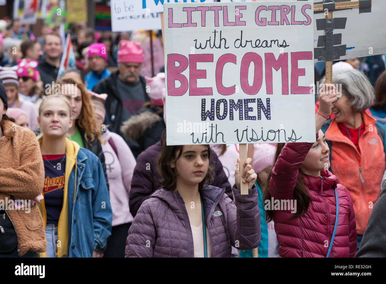 Seattle Womxn Marching Forward Stock Photos Seattle Womxn Marching