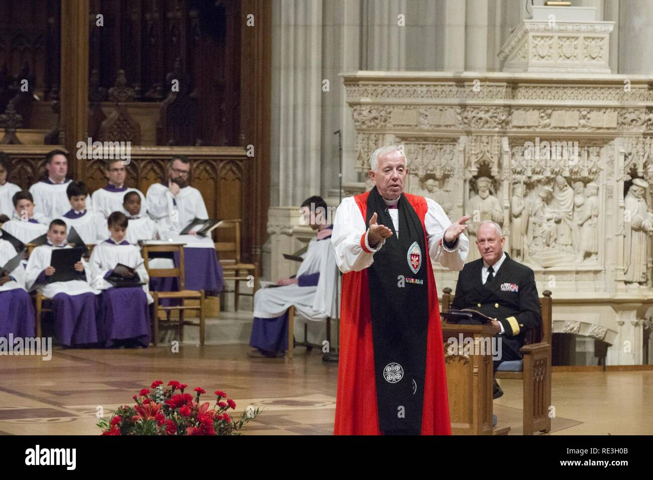 Reverend James B. Magness, bishop suffragan for Armed Services and Federal Ministries, welcomes guests to the Marine Corps Worship Service at the Washington National Cathedral, Washington, D.C., Nov. 13, 2016. The worship service honored the 241st anniversary of the Marine Corps. - Stock Image