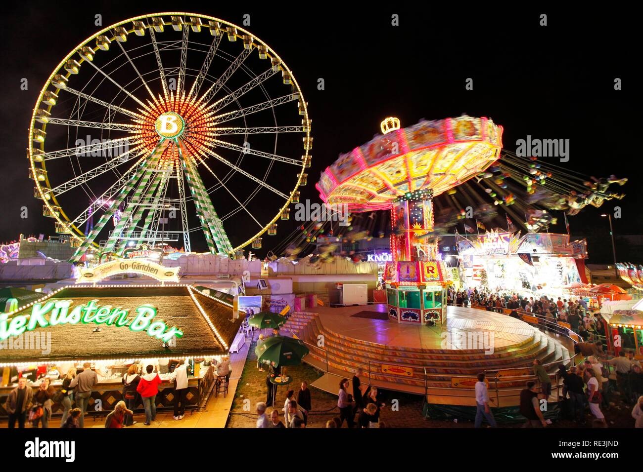 Cranger Kirmes fair, the biggest fair in the Ruhr area, at the Rhine-Herne Canal, Herne, North Rhine-Westphalia - Stock Image