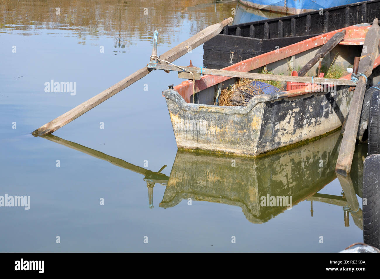 reflections of boats on Kerkini lake - Greece - Stock Image