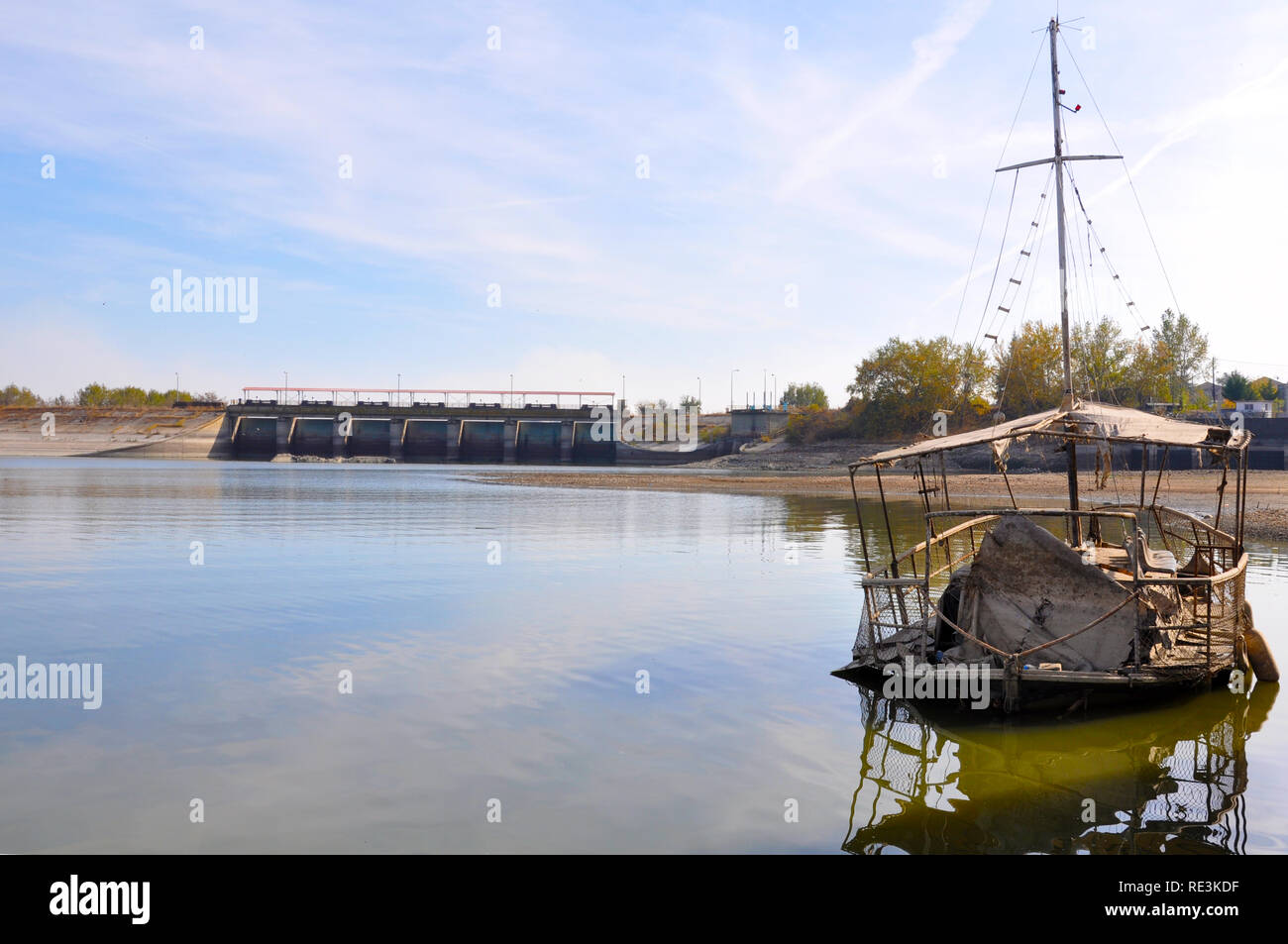 kerkini lake-an old ship like ghost - Stock Image