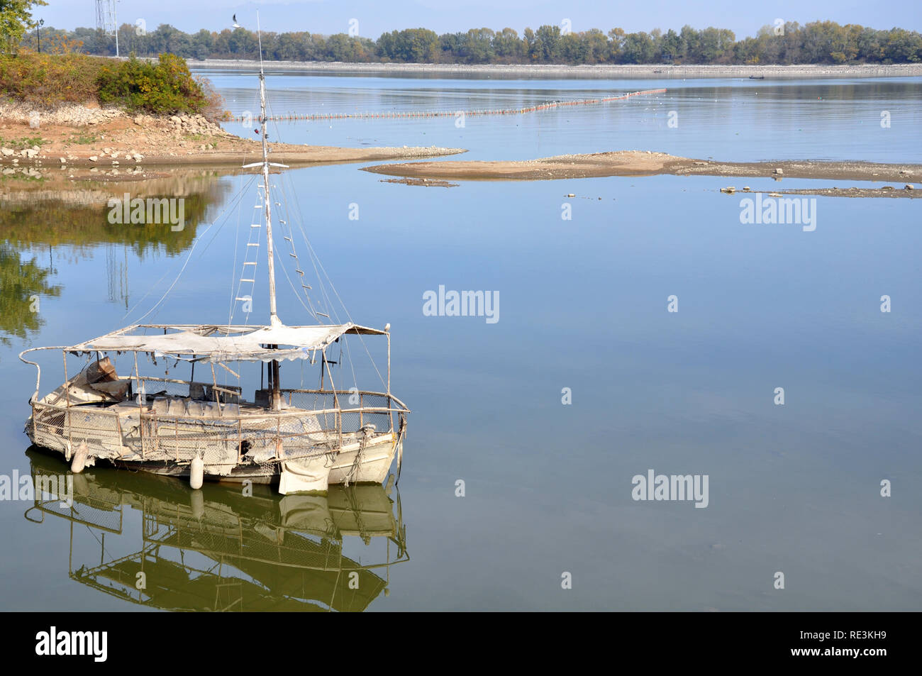 an old boat on Kerkini lake - Greece - Stock Image