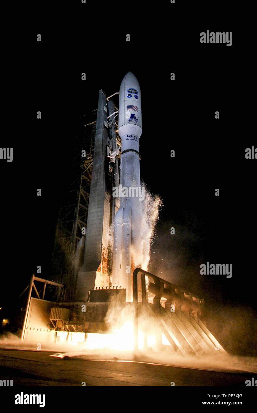The 45th Space Wing supported NASA's successful launch of the Geostationary Operational Environmental Satellite-R spacecraft aboard a United Launch Alliance Atlas V rocket from Space Launch Complex 41 here Nov. 19 at 6:42 p.m. ET. - Stock Image