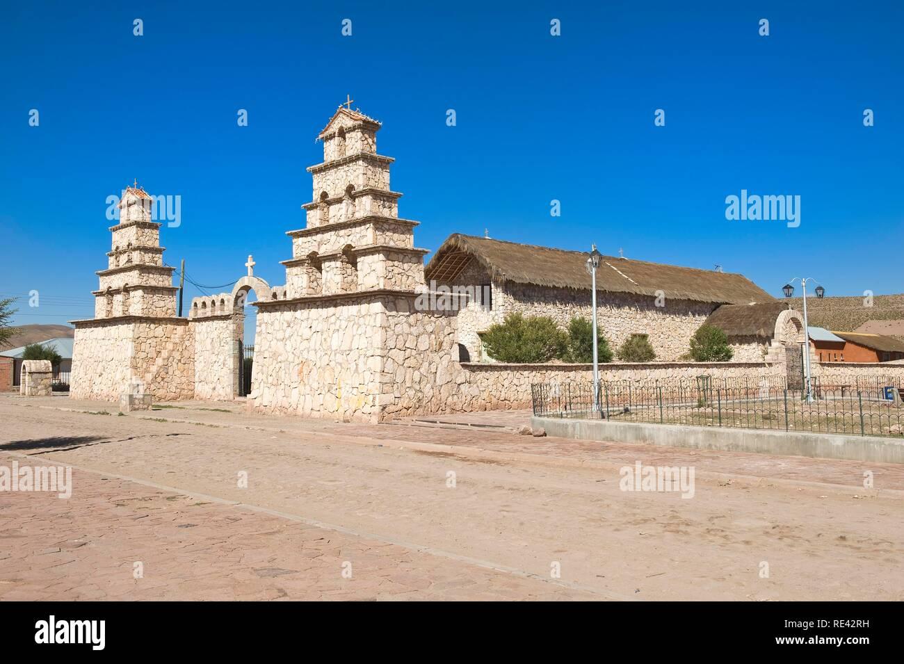 17th century church, San Cristobal, Altiplano, Potosi, Bolivia, South America - Stock Image