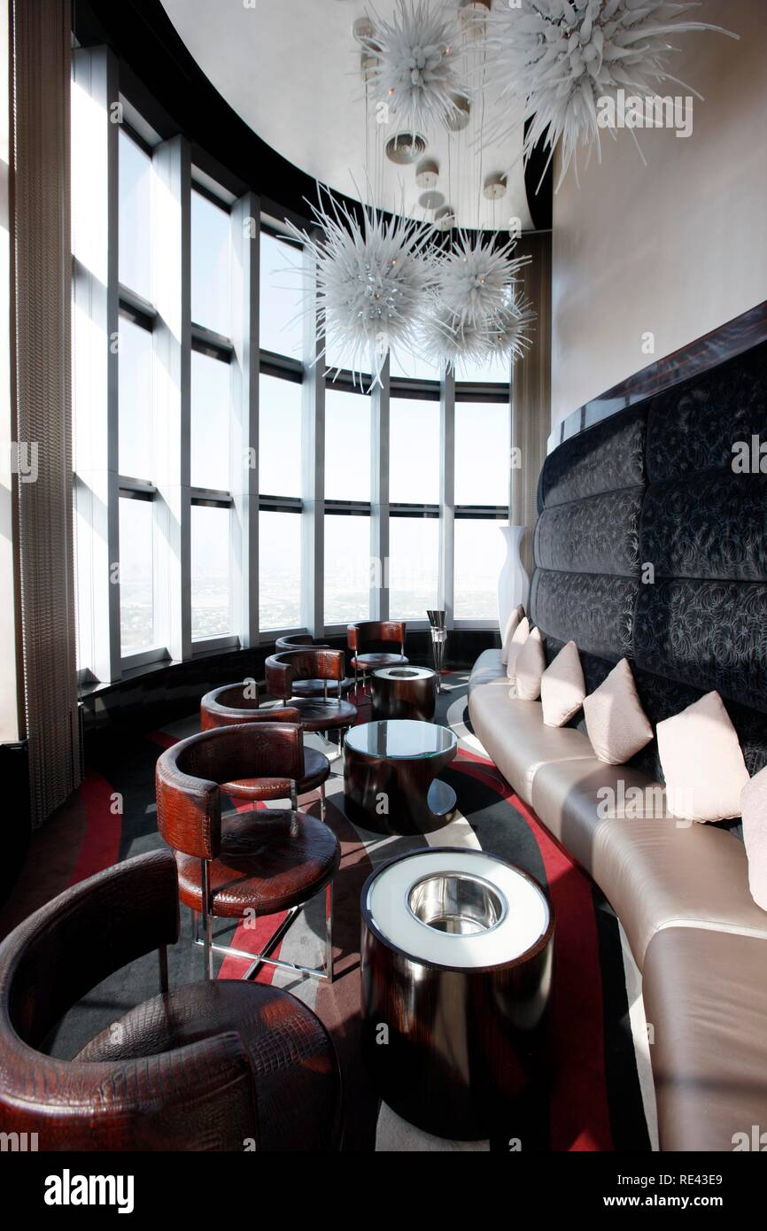 Sky Lounge Bar, Neos, the 63rd floor, luxury hotel The Address, part of Downtown Dubai, United Arab Emirates, Middle East - Stock Image