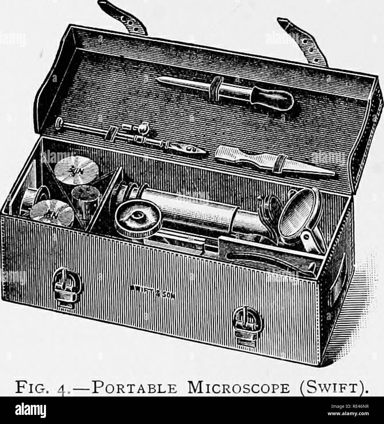 . Clinical bacteriology and haematology for practitioners. Bacteriology; Hematology. Fig. 3.—Portable Microscope (Swift). Fig. 4.—Portable Microscope (Swift The total cost of a microscope may be put down at _£i^, and for this sum a thoroughly efficient instrument can be obtained, while one' that will answer every purpose may be bought for. Please note that these images are extracted from scanned page images that may have been digitally enhanced for readability - coloration and appearance of these illustrations may not perfectly resemble the original work.. Emery, Walter d'Este. London, Lewis - Stock Image