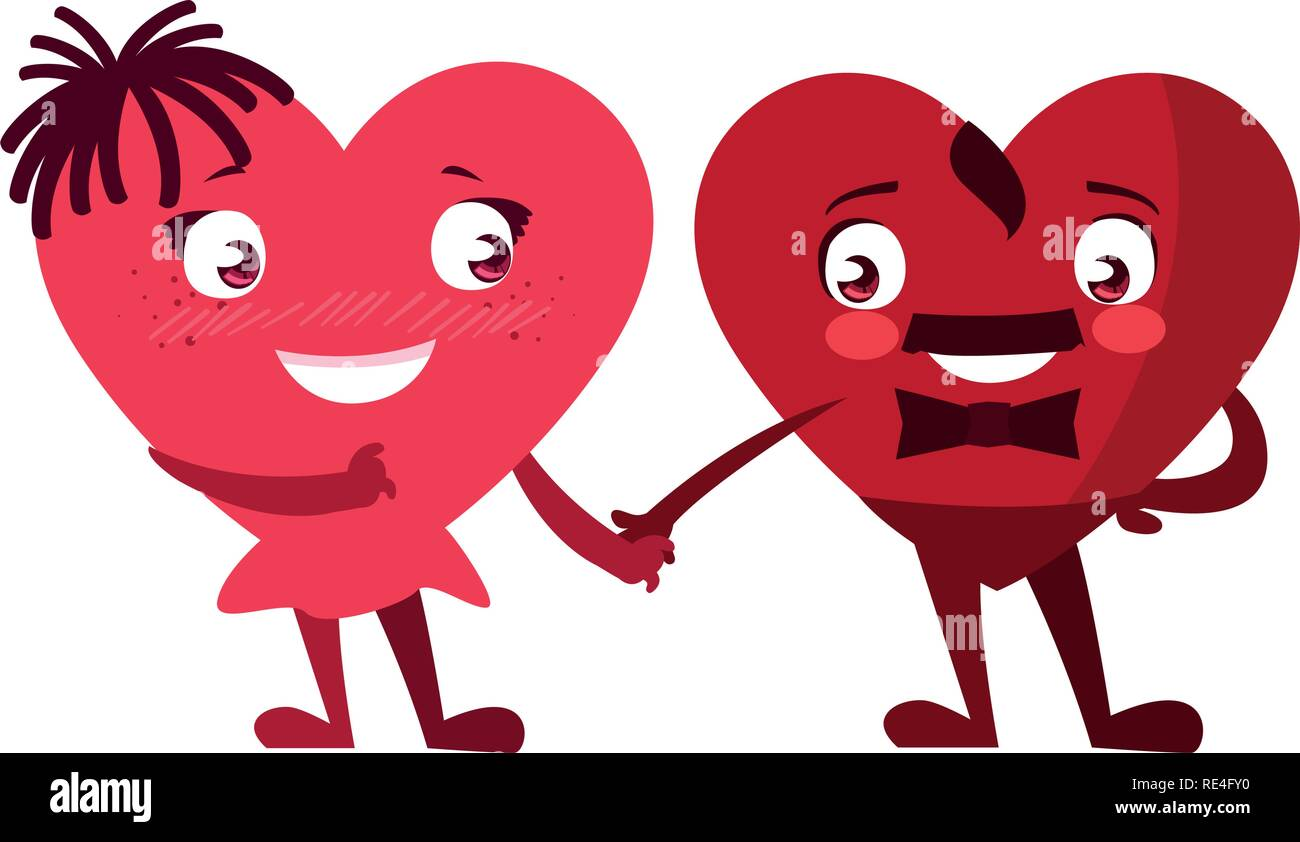 hearts couple emoticons characters vector illustration design - Stock Image