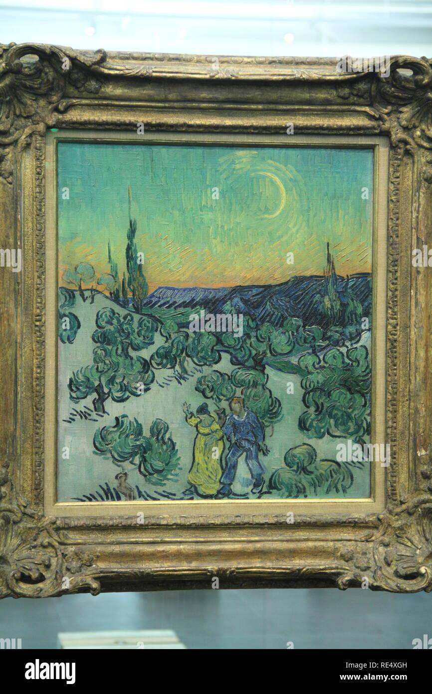 Passeio ao crepúsculo, Moonlit Landscape, 1889, Vincent van Gogh,  oil on canvas, Masp, São Paulo, Brazil - Stock Image