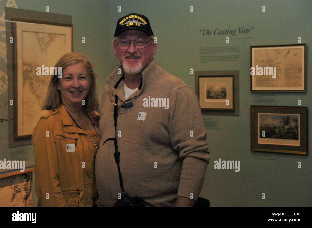 The first visitors to the Hampton Roads Naval Museum visited the gallery at around 11:10am on Tuesday, January 1, 2019. - Stock Image