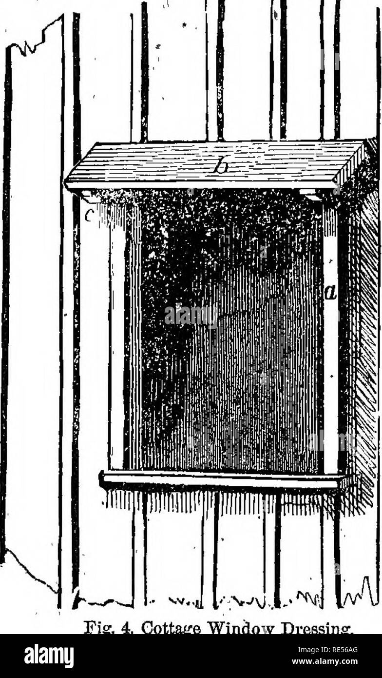 """. Rural essays. Gardening; Architecture, Domestic; Landscape architecture; Trees. ON SIMPLE RURAL COTJ'AGES. 251    strips, four inches wide, fig. 4, a; of plank, one incli and a half in thickness. The coping piece,. S, is of the same thickness, and six to eight inches wide, supported by a couple of pieces of joists, c, nailed under it for"""": brackets. We have tried the effect of this kind of â exterior, using un- planed boards, to which we have given two good coats â of paint, sanding the second cOat. The ef- fect we think much more agreeableâbe- cause it is in better keeping with a ru - Stock Image"""