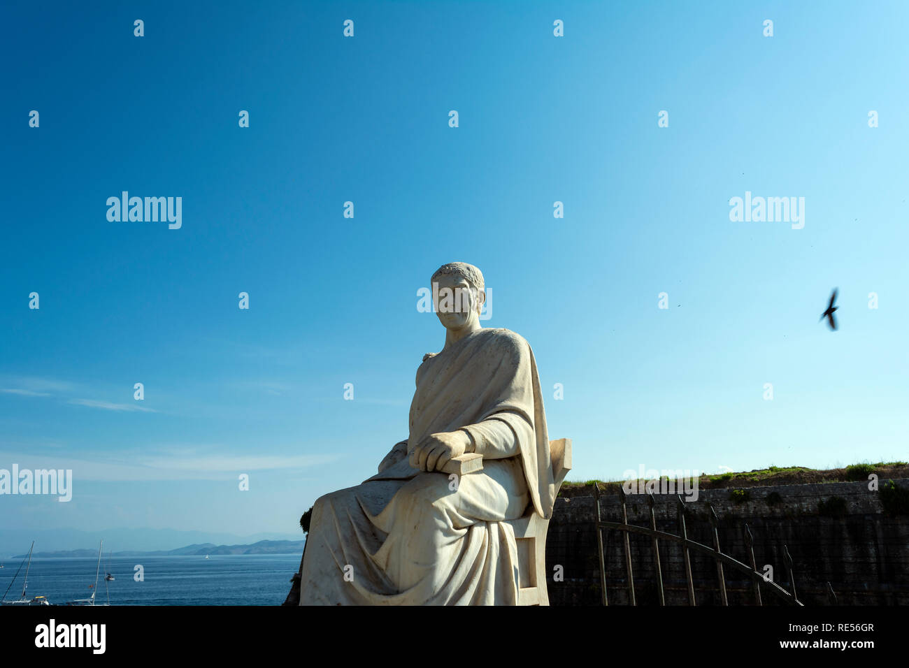 Statue of British High Commissioner Guilford in the Boschetto Park in Corfu Town, Greece. - Stock Image