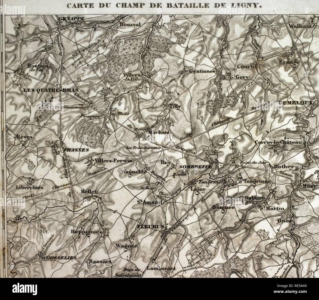 BATTLE OF LIGNY Belgium Napoleonic Wars 1848 old antique map 16th June 1815