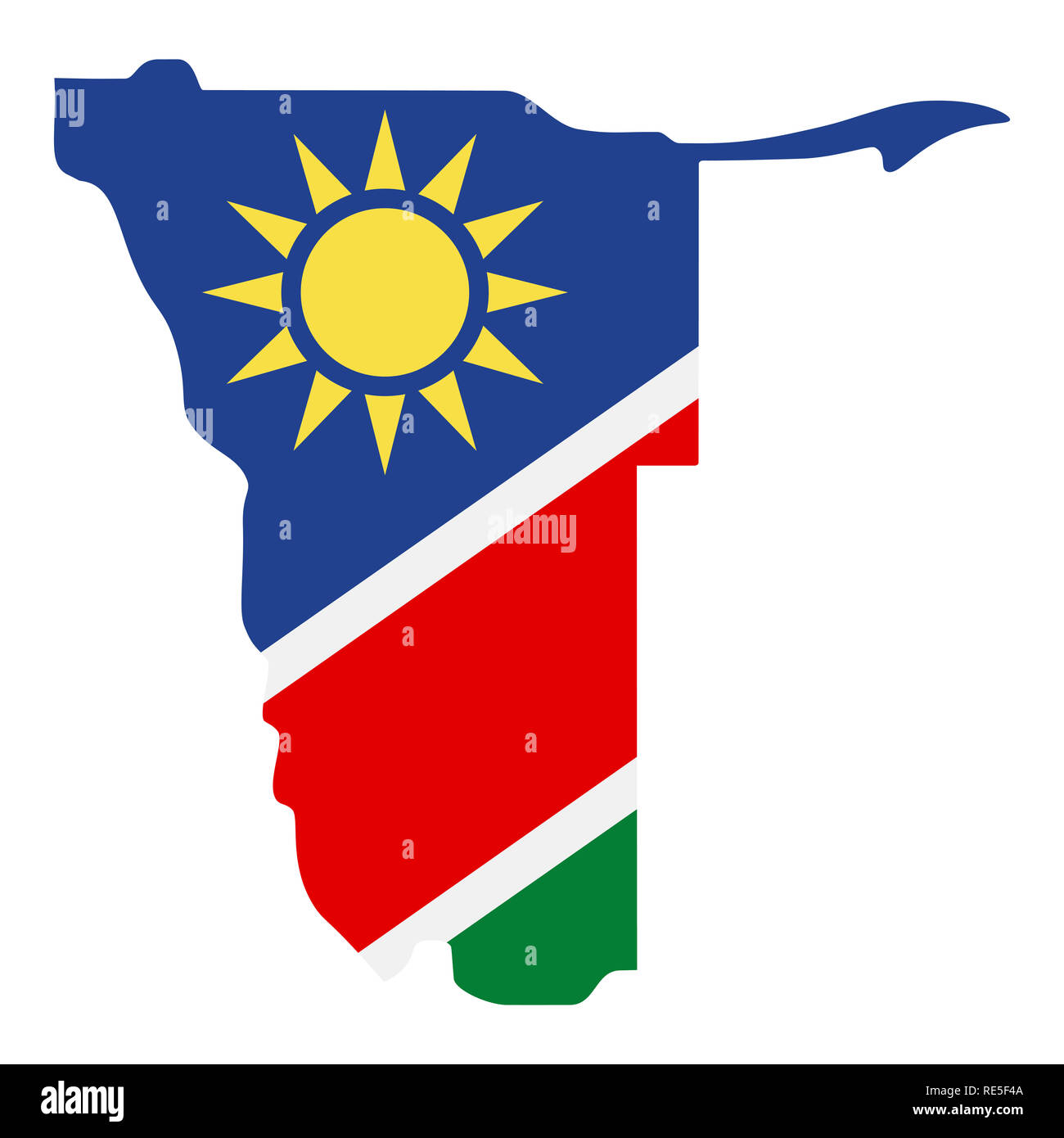 map of Namibia with flag inside. Namibia map  illustration - Stock Image