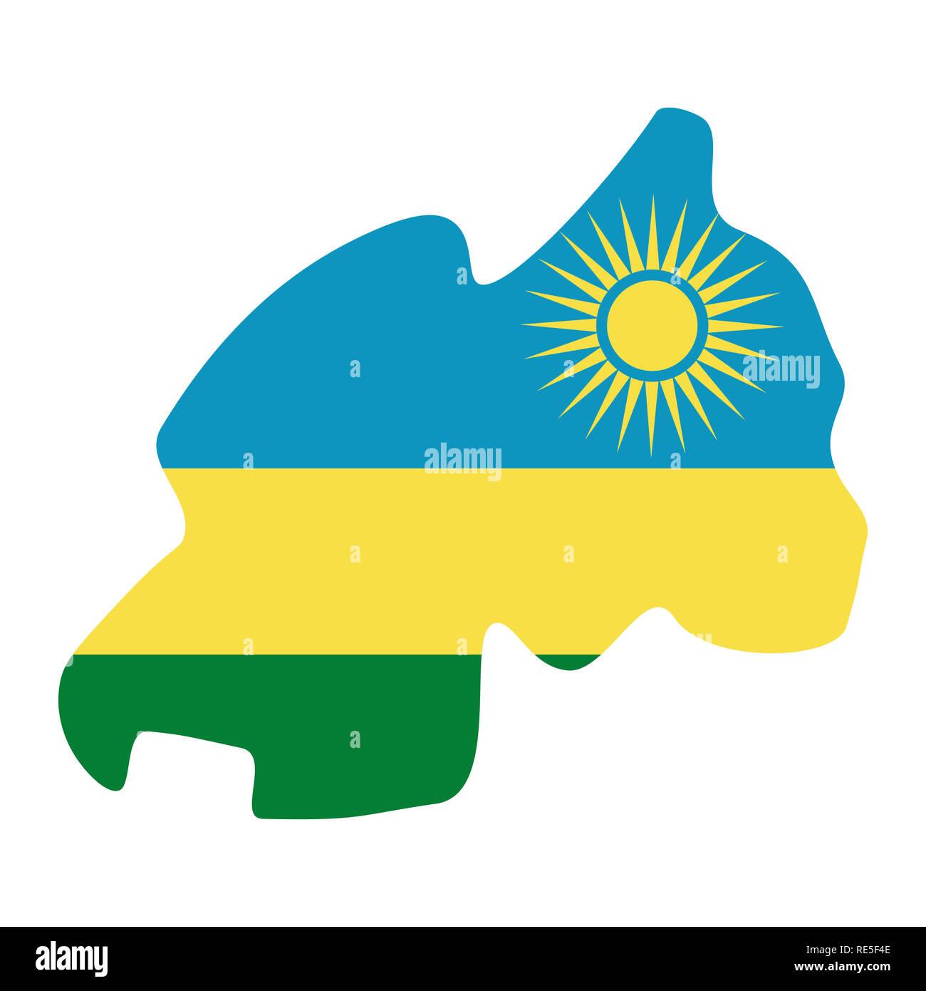 map of Rwanda with flag inside. Rwanda map  illustration - Stock Image