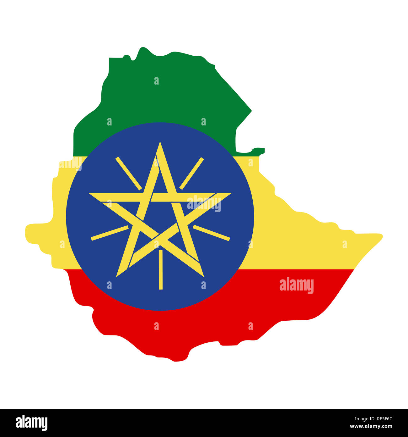 map of Ethiopia with flag inside. Ethiopia map  illustration - Stock Image