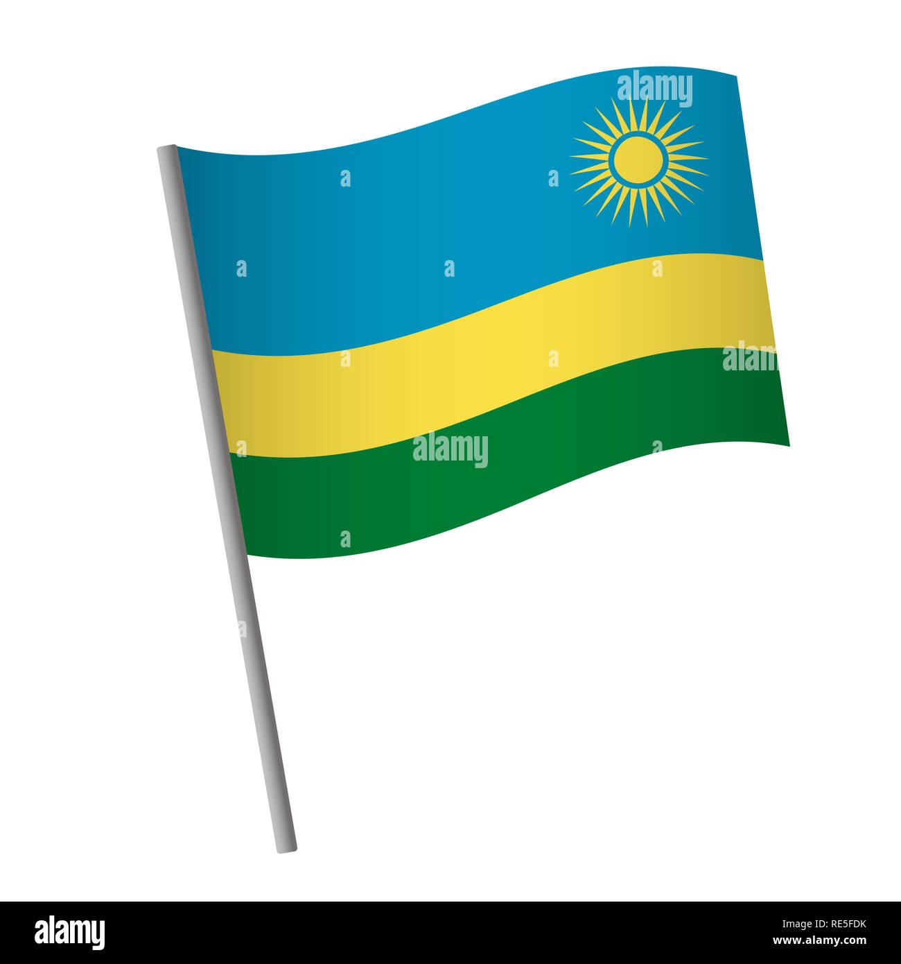 Rwanda flag icon. National flag of Rwanda on a pole  illustration. - Stock Image