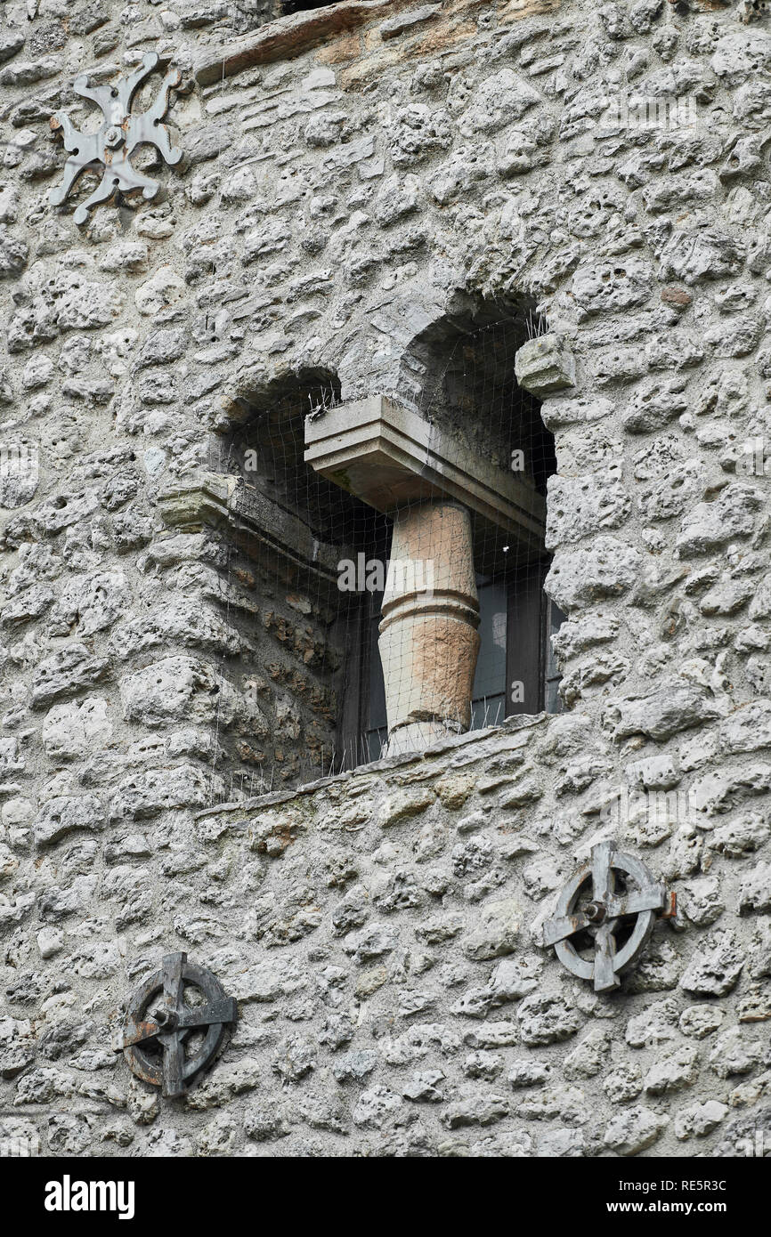 Window opening on the saxon tower of St Michael at the