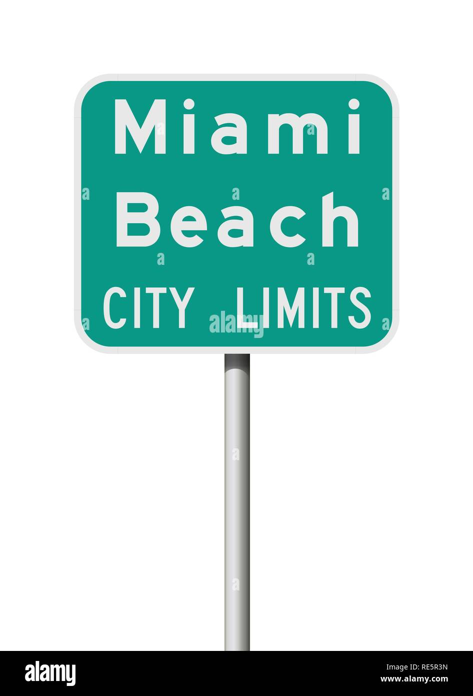 Vector illustration of the Miami Beach City Limits green road sign - Stock Image