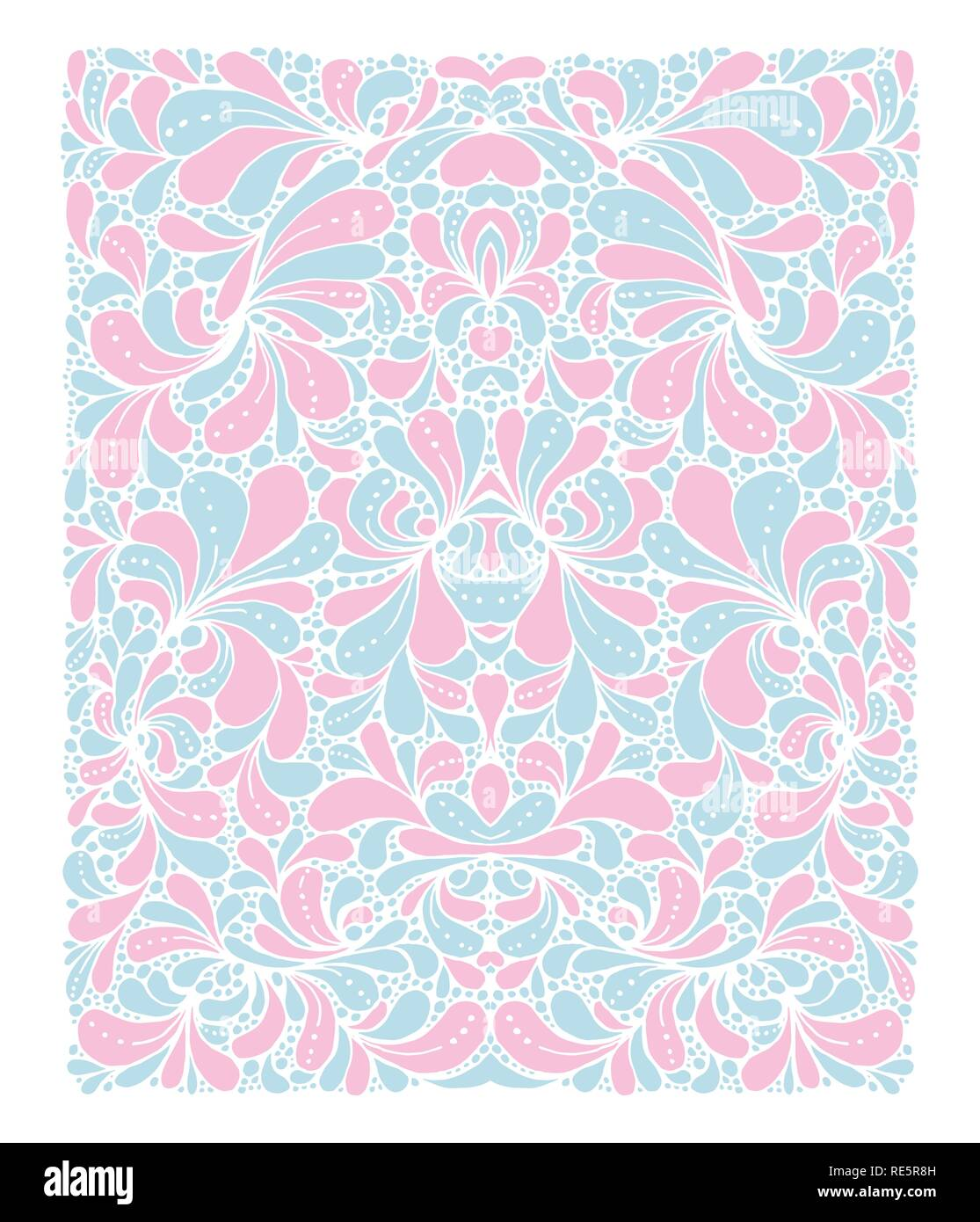 Rose Quartz and Serenity trendy colors of the year 2016 in the pattern. Doodle style ornament with floral elements. For fabric textile or print design - Stock Image