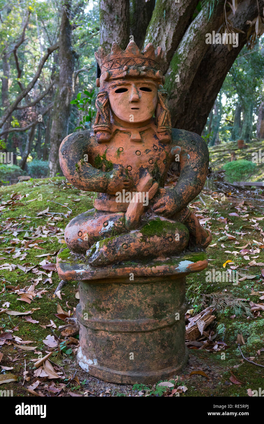 Miyazaki, Japan - November 5, 2018:  Haniwa Garden in Heiwadai Park with earthenware replicas of burial statues found all over the country in Japan - Stock Image
