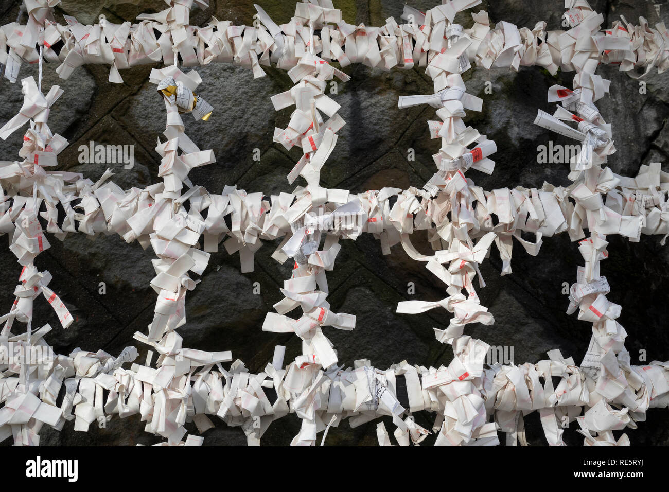 Kumamoto, Japan - November 13, 2018: Many Omikuji, fortune telling paper slips at the Kumamoto jo Inari shrine - Stock Image