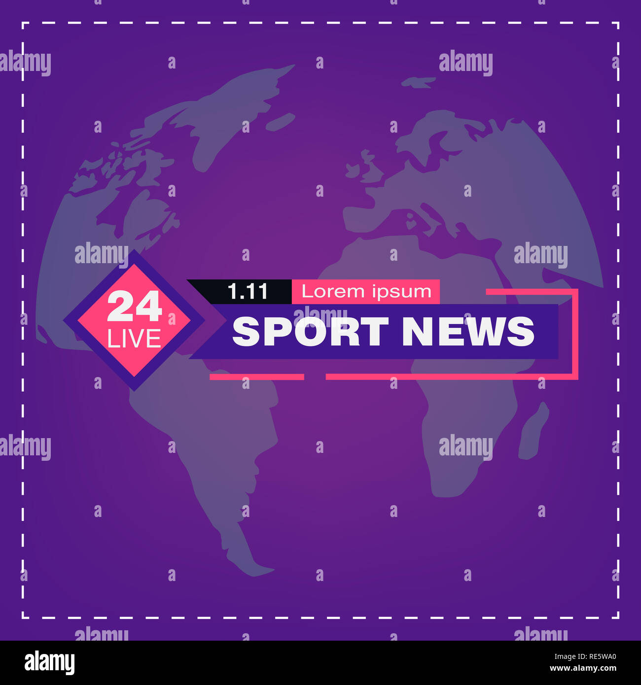 TV news studio with broadcaster and breaking world background vector illustration. Breaking news on tv, broadcasting journalist - Stock Image