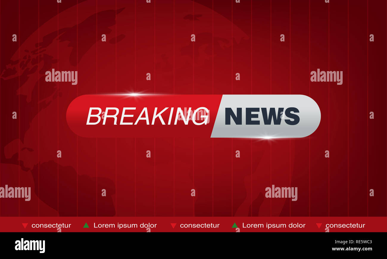Tv vector bars, breaking news banner, News banner for tv streaming broadcasting television video illustration - Stock Image