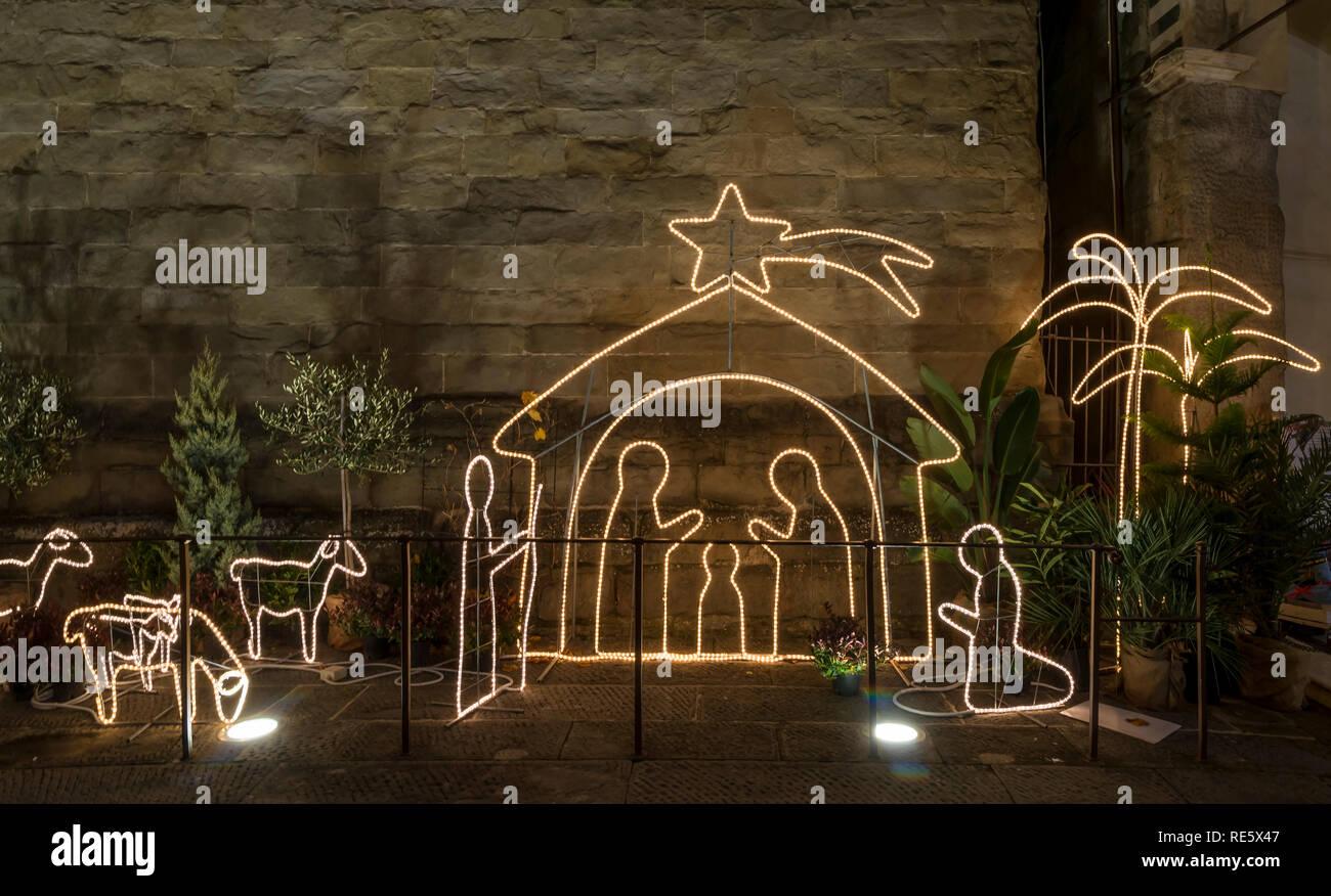 Beautiful outdoor nativity scene in Piazza del Duomo, Pistoia, Tuscany, Italy - Stock Image