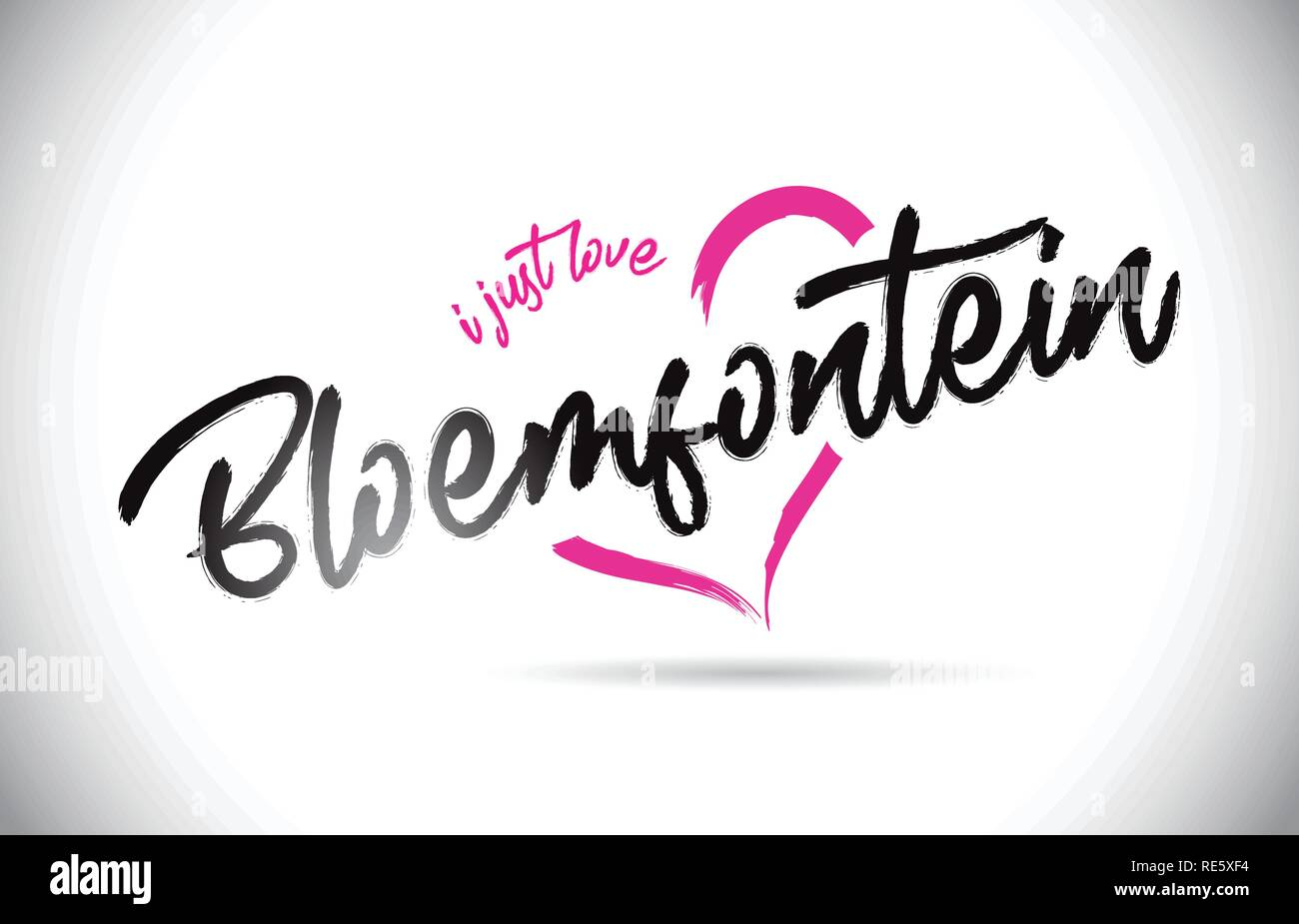 Bloemfontein I Just Love Word Text with Handwritten Font and Pink Heart Shape Vector Illustration. - Stock Image