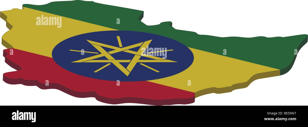 Flag and map of Ethiopia. Color silhouette of 3D map of Ethiopia vector illustration - Stock Vector