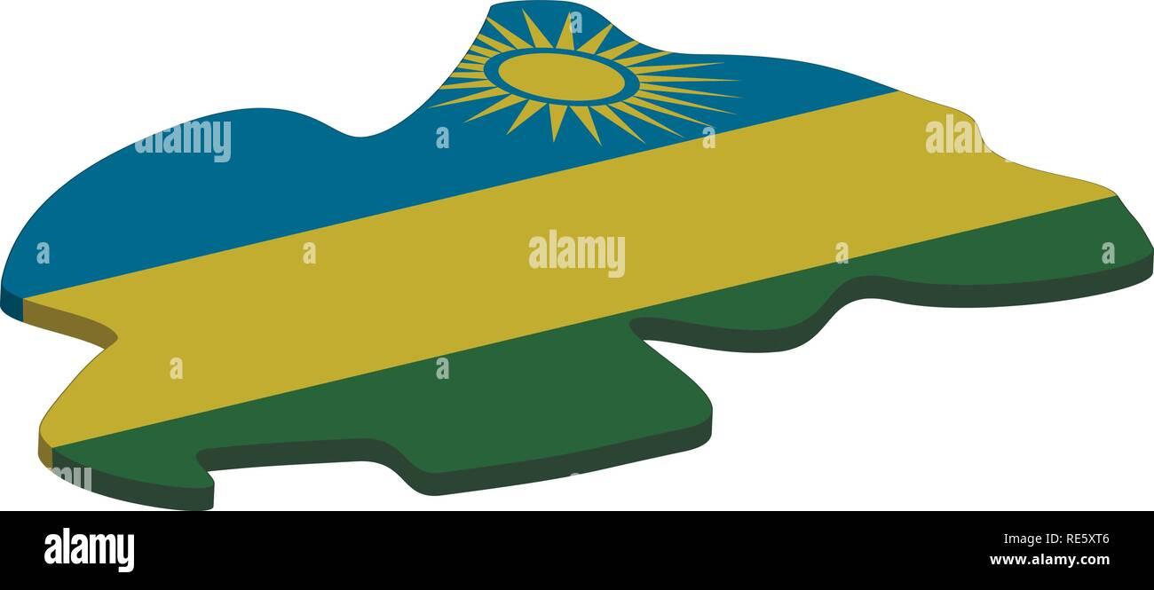 Flag and map of Rwanda. Color silhouette of 3D map of Rwanda vector illustration - Stock Vector