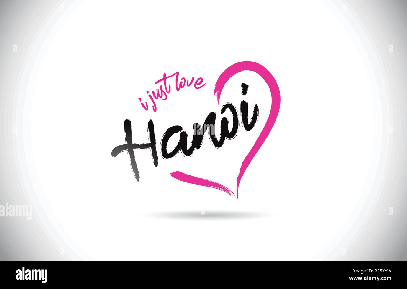 Hanoi I Just Love Word Text with Handwritten Font and Pink Heart Shape Vector Illustration. - Stock Vector