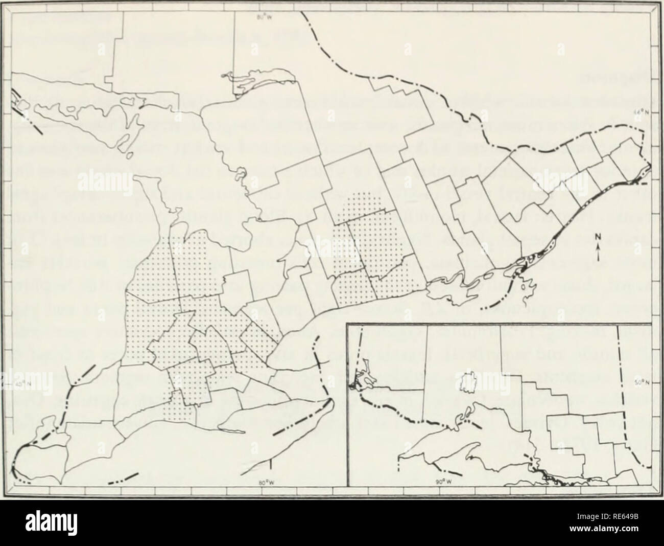 . The earthworms (lumbricidae and sparganophilidae) of Ontario. Lumbricidae; Worms. Fig. 39 The known Ontario distribution of Octolasion tyrtaeum. LAND CO. *Hwy 45. 4.84 km n of Baltimore, under logs, 28 Apr 72, JWR, 1-4-1. OXFORD CO. •Hwy 97, Washington, w.e., under logs, 3 May 72, JWR, 0-1-3. PEEL CO. *Hwy 5, .81 km e of Dixie Rd. under logs. 29 Apr 72, JWR. 0-1-1. PETERBOROUGH CO. *Hwy 28, Lakefield College, under logs near waterfront, 27 Apr 72, JWR & CWR, 4-5-8. VICTORIA CO. *Hwy 7, 7.26 km e of Hwj 35. under log, 26 Apr 72, JWR, 0-3-1. WATERLOO CO. *Hwy 24A, 11.45 km n of Pans, un- d - Stock Image