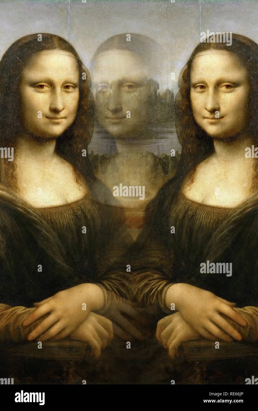 Multiple Mona Lisa of Leonardo, digitally modified - Stock Image