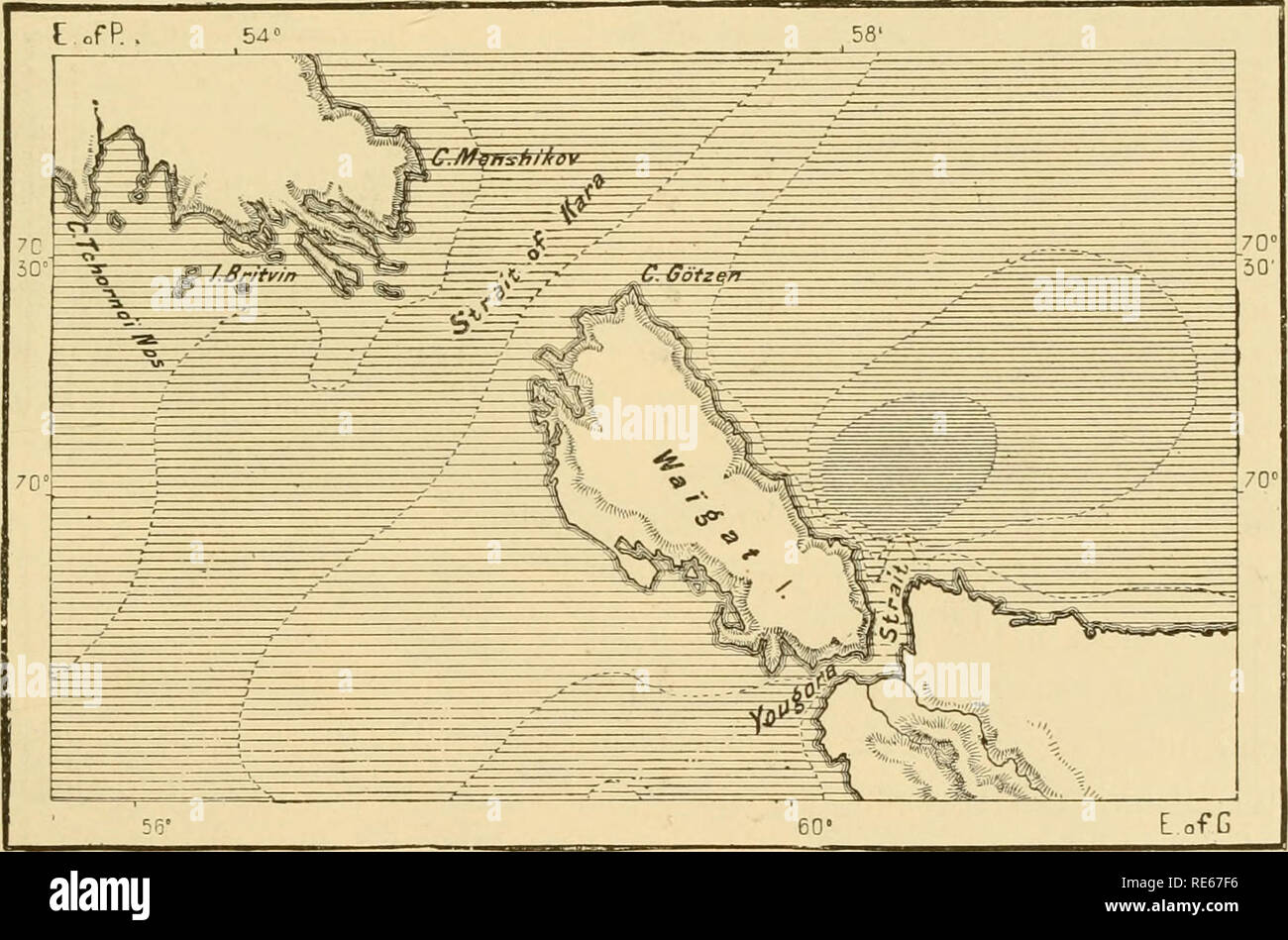 . The earth and its inhabitants ... Geography. NOVAYA ZEMLYA. 359 frequented by the Russian fishers, its existence was first revealed to the West after Willoughby's voyage in 1553. It was again visited in 155G by Stephen Burrough, who also circumnavigated Waigatch by the two Straits of Yugor and Kara, separating it from Russia and the southern extremity of Novaya Zemlya. Barents followed, and perished here during the hard winter of 1597, and in ISTI the Norwegian Carlsen discovered in hit. 76'^ 7', near the north-east end of the northern island, the house where Barents and Heemskerk had winter - Stock Image