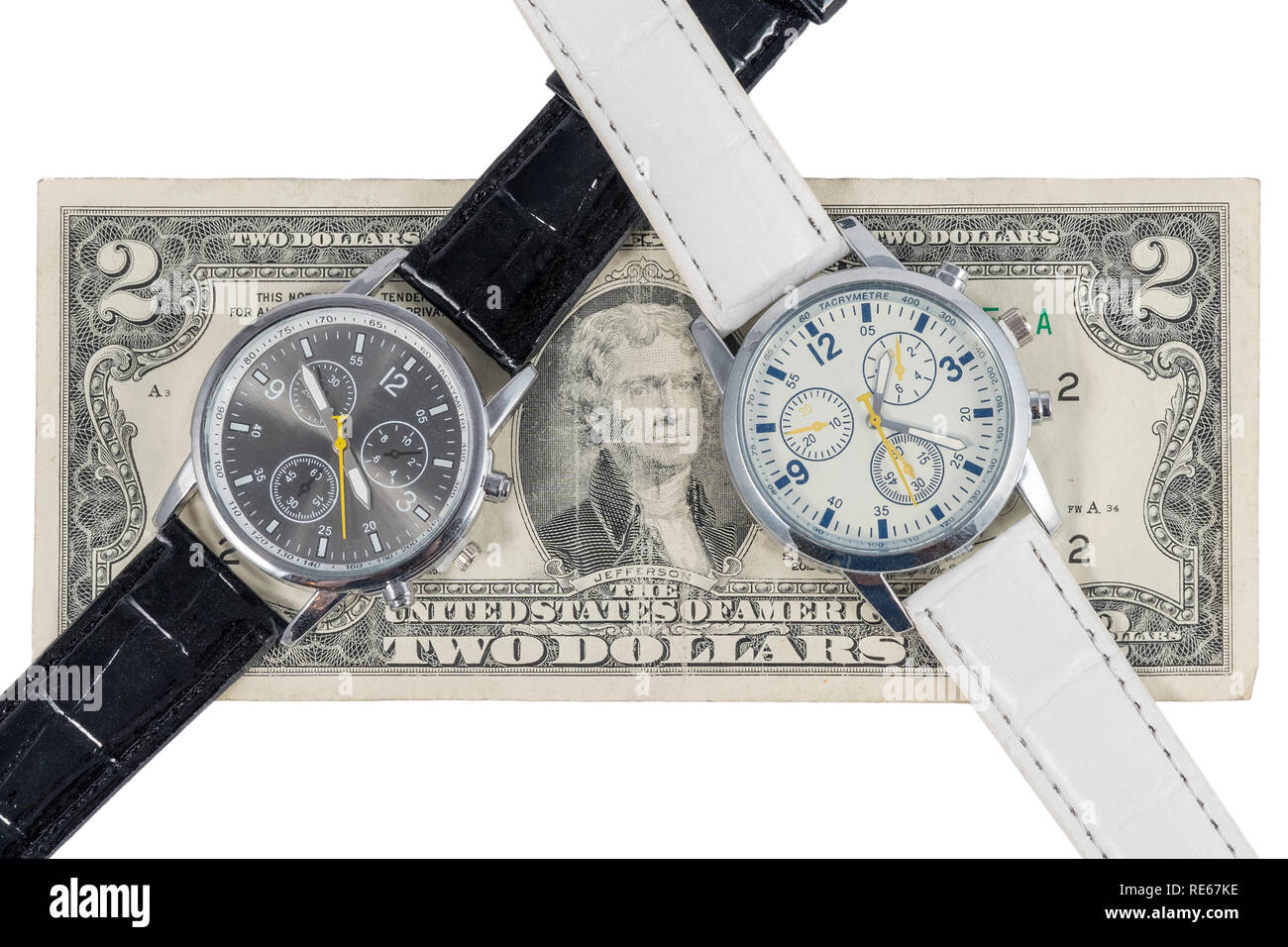 Two wristwatches showing different times on a two-dollar bill, isolated on a white background - Stock Image