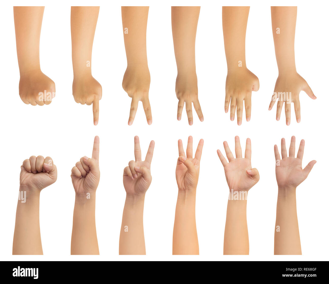 Human hand in reach out and counting number zero, one, two, three, four and five fingers gesture isolate on white with clipping path, High resolution  - Stock Image