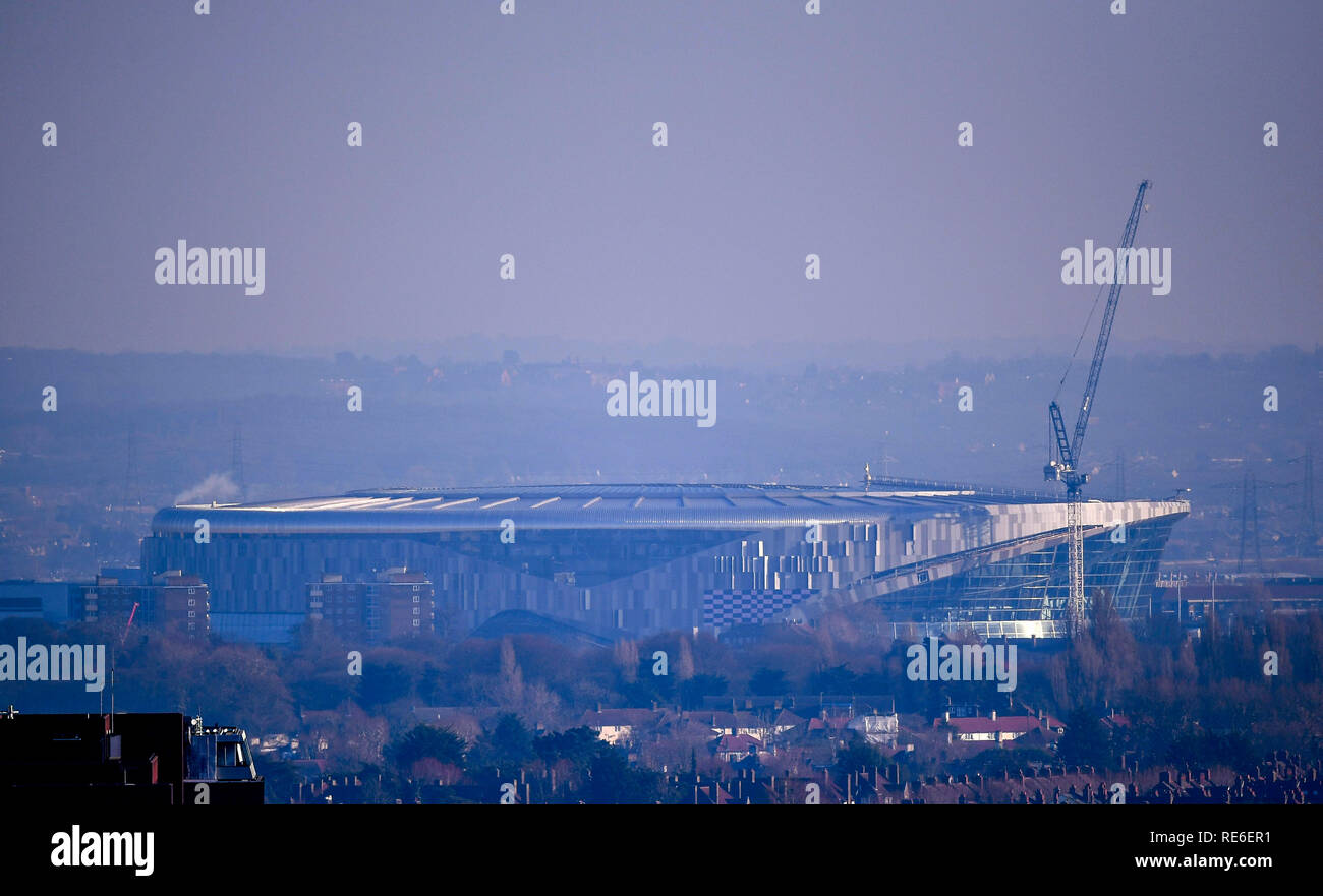 London, UK. 20thJanuary 2019, Tottenham, London, UK. The new Tottenham Hotspur Premier league stadium, nearing completion after many building delays, Seen from Alexandra Palace skyline Credit: Action Plus Sports Images/Alamy Live News Stock Photo
