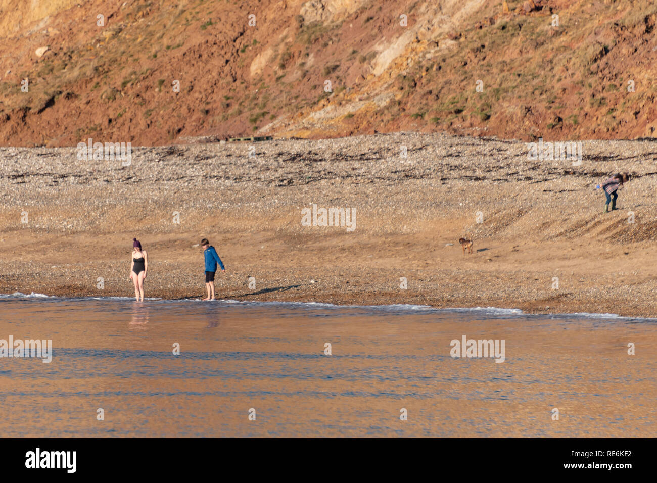 Wareham, UK. Sunday 20th January 2019. Two brave souls go for a swim off Worbarrow Beach on the Jurassic Coast in 4 degree cold but sunny weather. Other people are wrapped up in warm coats. Credit: Thomas Faull/Alamy Live News Stock Photo