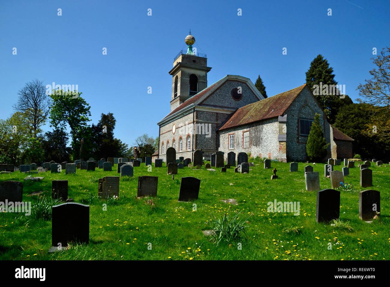 St Lawrence's Church, West Wycombe, Buckinghamshire, UK. Chilterns. Landscape. - Stock Image