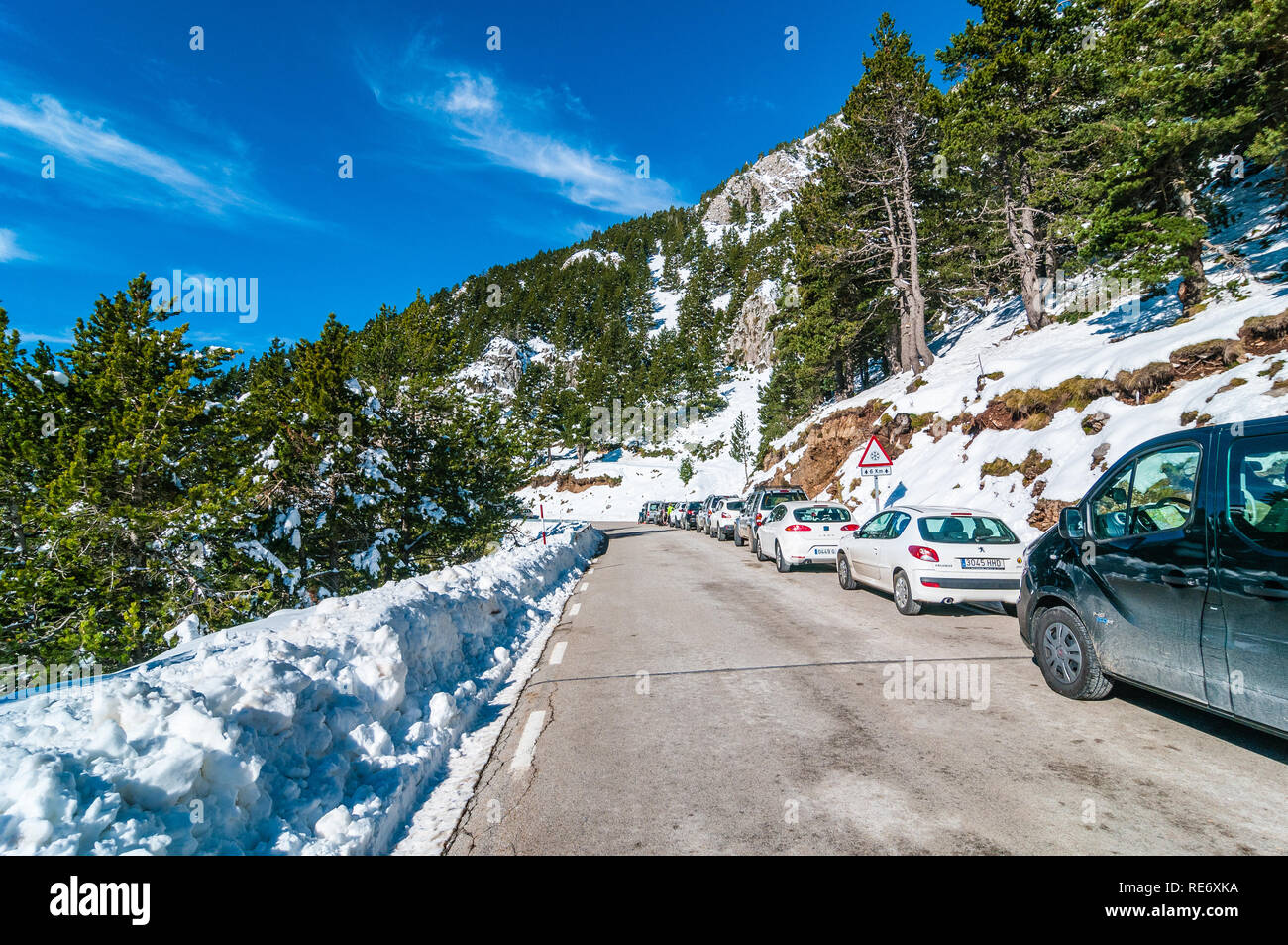 road to Coll de Pal on weekend, BV-4024, Catalonia, Spain - Stock Image