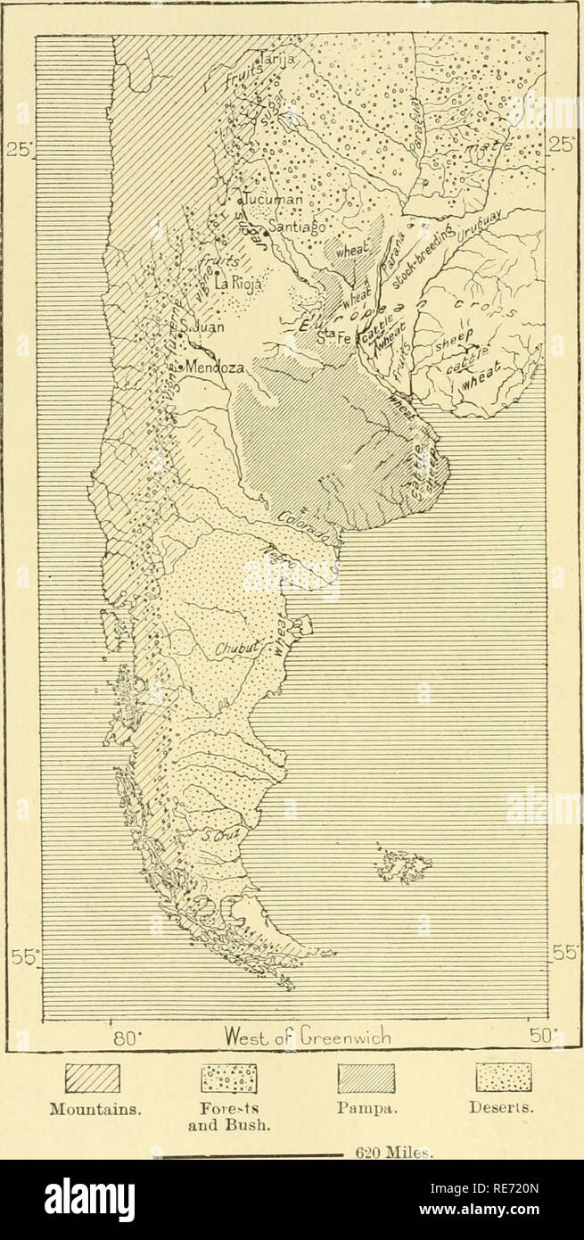 . The earth and its inhabitants ... Geography. 4G8 AMAZONIA AND LA PLATA. Fig. 183. —PiiODUCTivE Lands of Akgentina. Scale 1 : 32,000,000. the free range of these animals became the chief obstacle to husbandry in its initial state. The settlers had constantly to keep guard round about their enclosures, and often failed to drive off the trespassing herds before all their crops were hopelessly ruined. Hence constant wranglinws and heartburnings, which were at times followed by armed conflicts between the colonists and the cattle-owners. The former have at last gained the day, and the grazing-gro Stock Photo