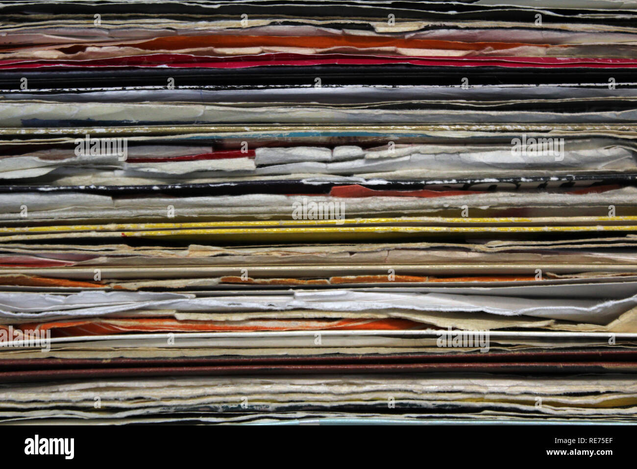 Old vintage vinyl record sleeves, close-up - Stock Image