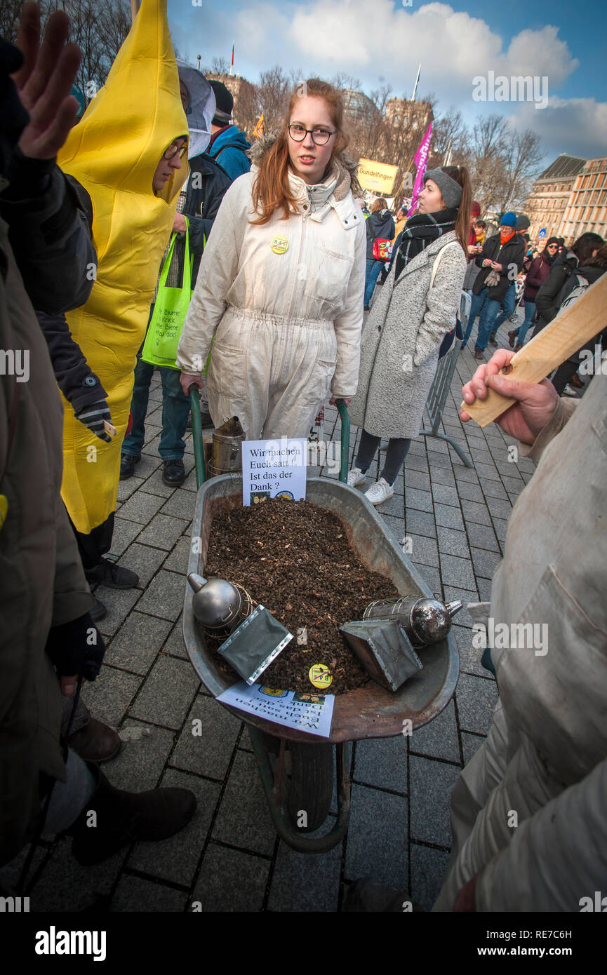 Demonstrators at the 'Wir Haben Satt'- We are Fed Up- demonstration in Berlin in 2019. - Stock Image