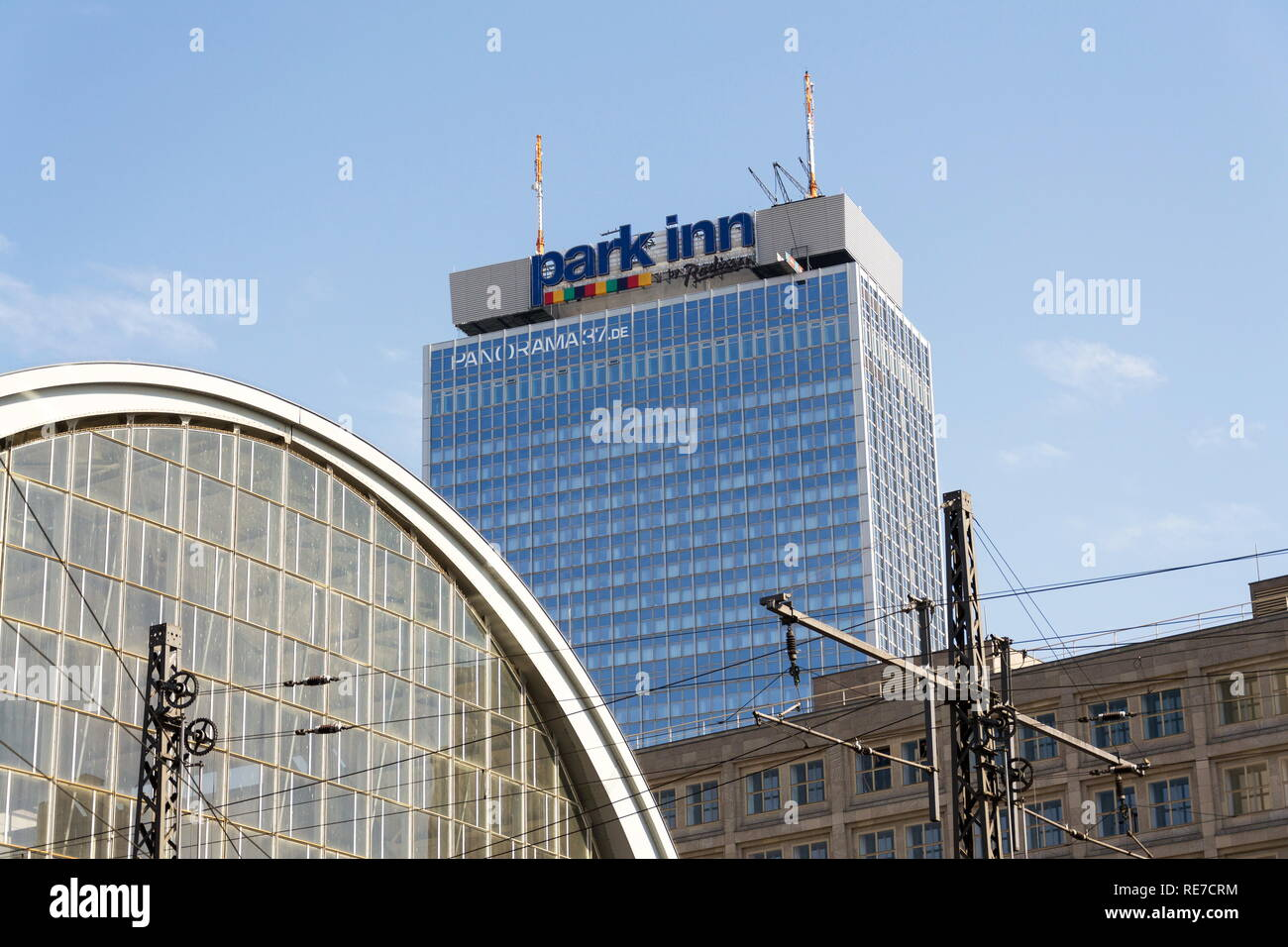 BERLIN, GERMANY - MAY 15 2018: Park Inn by Radisson Berlin Alexanderplazt hotels and resorts logo on the hotel building on May 15, 2018 in Berlin - Stock Image
