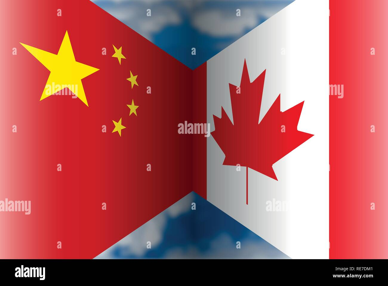 China vs Canada flags, vector illustration and graphic elaboration, international affairs - Stock Vector
